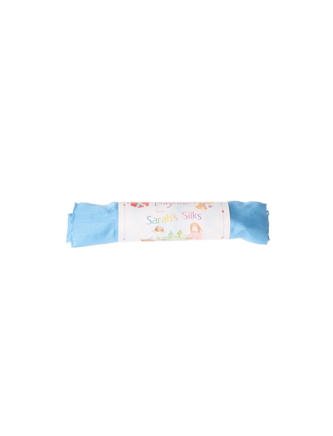 Pañuelo de juego de seda azul cielo....